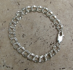 Hammered Links Silver Charm Bracelet