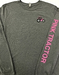Pink Tractor on sleeve, Long Sleeve T-Shirt