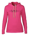 Heartbeat Logo Pink Hooded Long Sleeve Tee