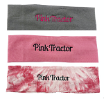 PInk Tractor stretchy headbands