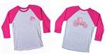 3/4 sleeve T-shirt  with Pink Tractor Word Art on Back; Small Pink Tractor logo on left side front