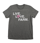 Pink Tractor Live Love Farm Shirt - Dark Gray