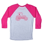 Raglan Tee with Pink Tractor Word Art on Back; Small Pink Tractor logo on left side front