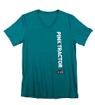 Teal Pink Tractor V-neck Shirt