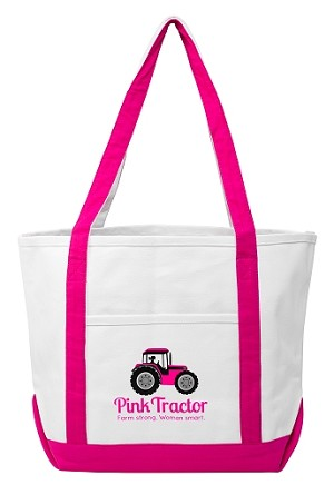 Pink Tractor Tote Bag - Large